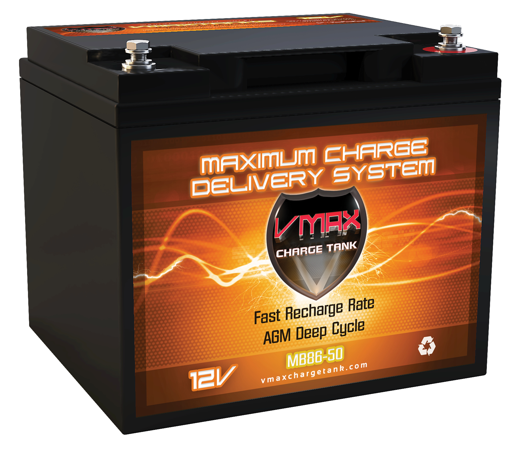 vmax mb86 50 12 volt 50ah agm deep cycle sealed lead acid battery. Black Bedroom Furniture Sets. Home Design Ideas