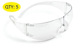 3M SF201AS SecureFit Safety Glasses Clear Lens Anti-Scratch (5pcs)